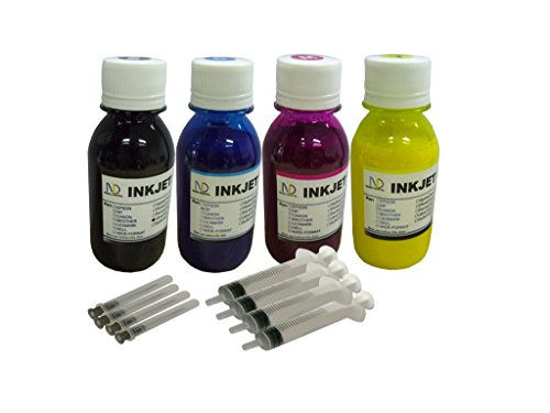 ND R@ 4x100ml Pigment Refill Ink for Epson 802 XL T802 Workforce Pro WF-4720 WF-4730 WF-4734 WF-4740 refillable cartridges or cis ciss Ink System + Free 4 Syringes