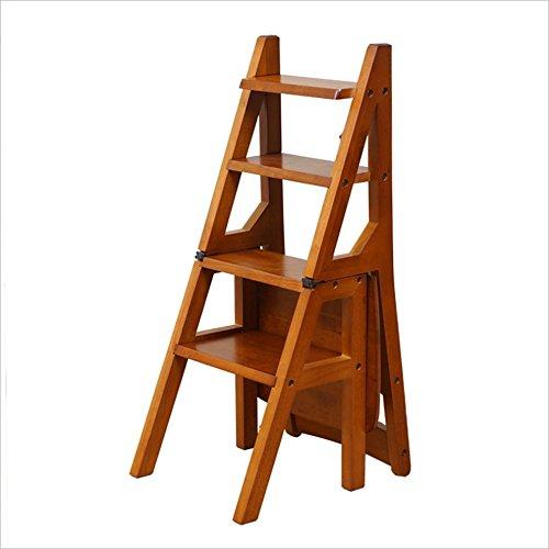 DINJUEN Échelle pliante en bois Multi-Step Étape Ladder cuisine Bureau à l'aide de chaises Tabouret utilitaire (Couleur : Honey color)