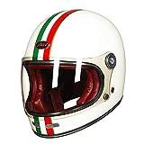 Casco Moto Integrale In Fibra Di Carbonio Vintage Completamente Coperto Moto Scooter Autociclo Ultraleggero Helmet-3, L