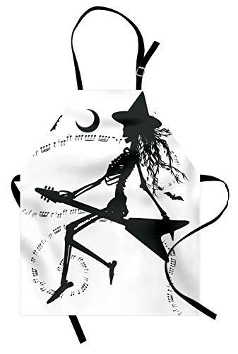 ABAKUHAUS Muziek Keukenschort, Heks op Guitar, Unisex Keukenschort met Verstelbare Nekband voor Koken en Tuinieren, Zwart wit