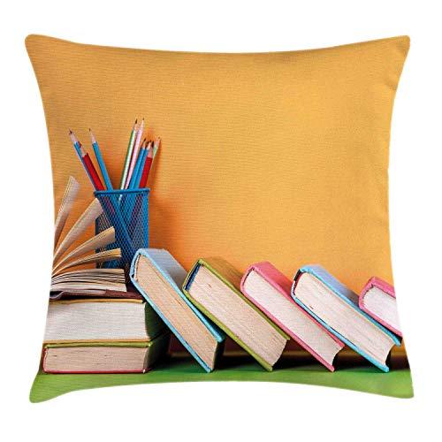 CheXe Funda de Almohada Colorida, Libros y lápices con imágenes inspiradas en Temas Escolares de Estilo Retro en Estuche para bolígrafos, 45 X 45 CM