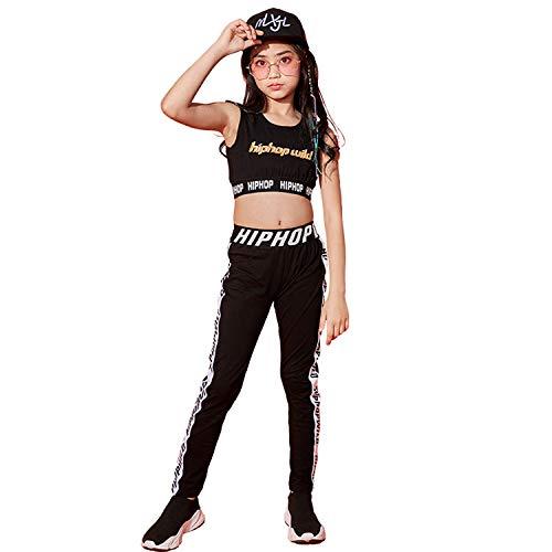LOLANTA Mädchen Hip Hop Dancewear Gymnastik Tanz Outfit Kurzweste & Schwarze Leggings, 2-teiliges Kinder-Trainingsanzug-Set (Schwarz, 128 (6-7 Jahre))