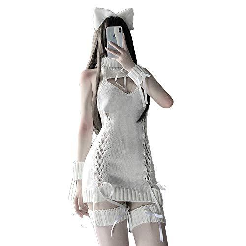JasmyGirls Sexy Cosplay Lencería sin espalda ahueca hacia fuera anime virgen asesino suéter kawaii japonés jersey de punto sin mangas, blanco, Talla única
