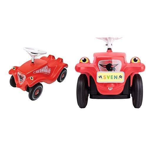 BIG Spielwarenfabrik BIG 800001303 - Bobby-Car-Classic, rot & BIG-Bobby-Car Mein Nummernschild