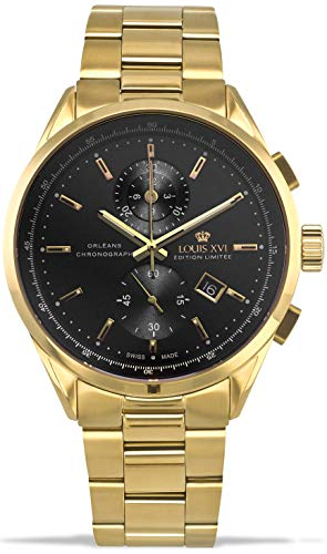 LOUIS XVI Herren-Armbanduhr Orléans Stahlband Gold Schwarz Chronograph Analog Quarz Edelstahl 925