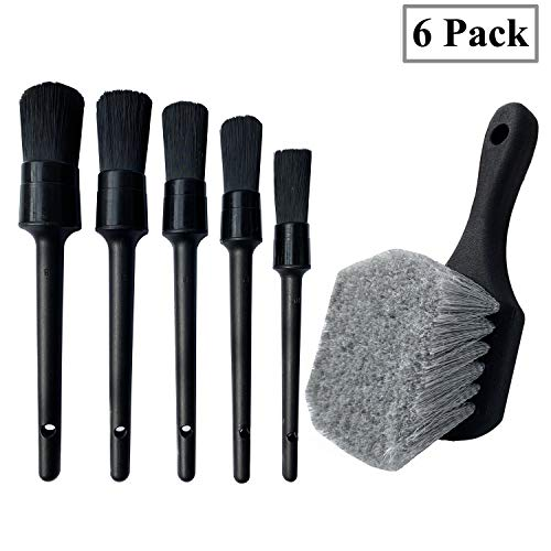 LUCKLYJONE Wheel & Tire Brush, Soft Bristle Car Wash Brush, 5 Different Sizes Detailing Brush, Cleans Dirty Tires & Releases Dirt and Road Grime, Short Handle for Easy Scrubbing (Black)
