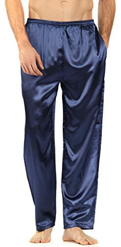 YIMANIE Men's Silk Pajama Pant Comfy Soft Lounge Sleep Pants Navy