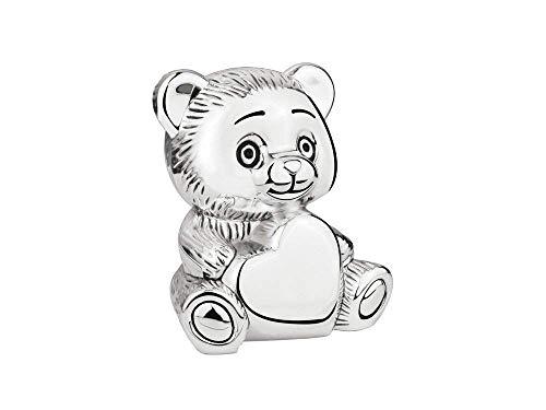 Brillibrum Design Spardose Teddy-Bär mit Herz inkl Namen Gravur Geldose aus Metall versilbert anlaufgeschützt Bärchen Sparbüchse mit persönlicher Witmung