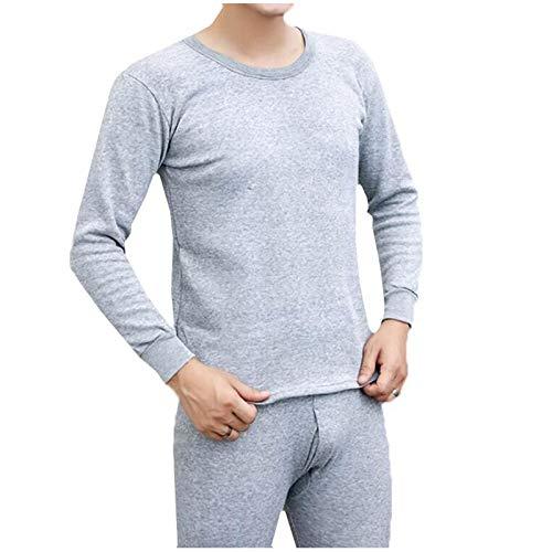 Completo Intimo Uomo Tuta Termica Invernale Colletto Circolare Colore Puro (XL,1Grigio)