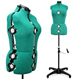 13 Dials Female Fabric Adjustable Mannequin Dress Form for Sewing, Mannequin Body Torso with Tri-Pod Stand,Up to 70' Shoulder Height. (Large) (Green)
