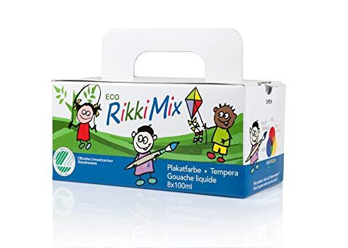 ECO RikkiMix Kids 8x100ml großes Bastel-Malfarben-Set 2-fach zertifiziertes, reines Produkt für IHR KIND, Natur und Umwelt. Satte Farben, wasserlösliche, hochwertige Qualität. 1 Pinsel + Mixpalette