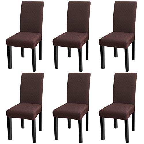 YISUM Moderne Stretch-Bezüge für Esszimmerstühle, abnehmbar, waschbar, Elastan, Schonbezüge für hohe Stühle, 4er- oder 6er-Pack, Dunkles Jacquard-Muster., 6 PCS/Packet