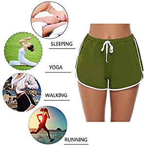 iClosam Women Sport Shorts Pyjama Bottoms Lounge Shorts Sleep Shorts Cotton Pajama Shorts Cotton Trousers for Yoga Sports Gym S-XXL (Green, M)