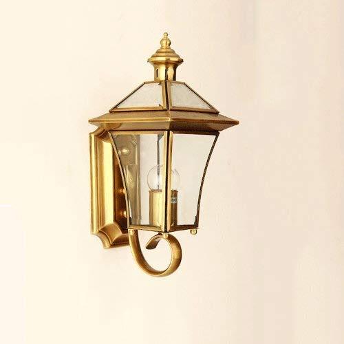 Lámpara de pared para exteriores 37CM Lámpara de pared de cobre Luces de jardín impermeables al aire libre Vidrio E27 Decoración Iluminación Luz de pared Terraza Balcón Pasillo Pasillo Accesorio de