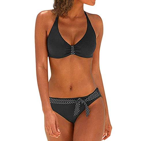 MORETIME Traje de baño de Gran tamaño para Mujer de Color sólido Relleno triángulo Bikini Sujetador Traje de baño Swimjupmsuit Beachwear Traje de baño Grueso