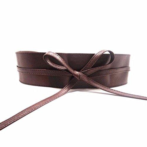 JIS riem breed 220cm lang knuffelband tailleband kunstleer taille jurk bruin zwart rood