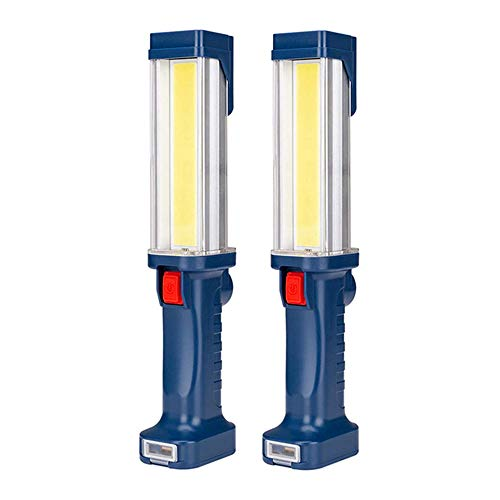 Portable Rechargeable COB LED Work Light,Unikoo Super Bright Handheld Light,Magnetic Base,Hanging Hook,LED Work Lamp for Car Repairing,Camping,Hiking,BBQ Indoor Outdoor Lighting(2 PACK)