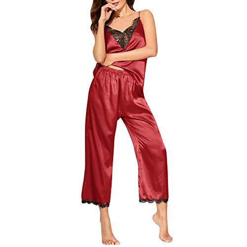 Puimentiua Batas Sexy con Encaje Conjuntos para Mujer 2 Piezas Pijamas de Satén Camisón Seda Elegante sin Manga Cuello en V y Pantalones Largos