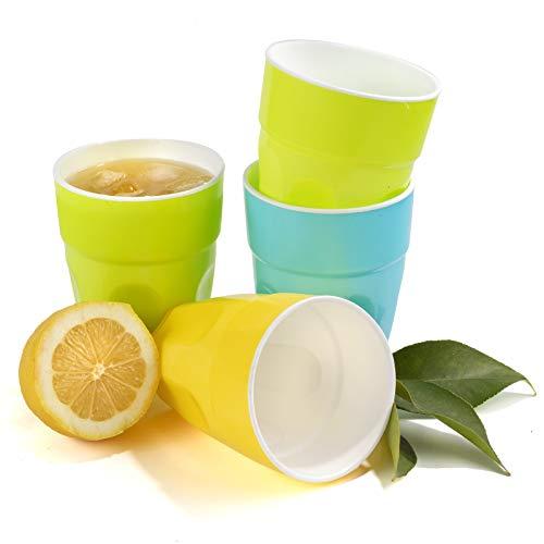 Plastic Cups Drinking Glasses tumblers Kids Party Toddler Cup beakers Milk Juice Half Pint Reusable Unbreakable 0,4L - Set of 4