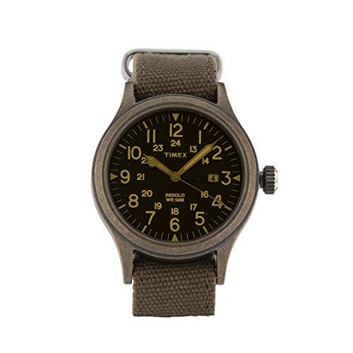 Timex Orologio al quarzo SCOUT quadrante in ottone 40 MM case colore bronzo anticato - quadrante bianco - lente giallo chiaro cinturino in tessuto Verde Militare 20 MM con luce notturna INDIGLO resist