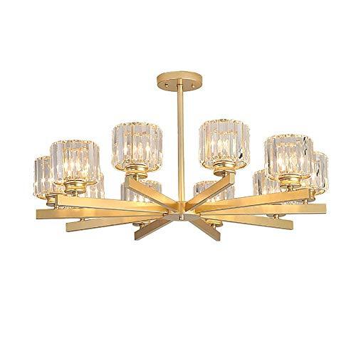 LLLKKK AST - Lámpara de araña de cristal, con ventosa, doble uso, 8 portalámparas, estilo chino