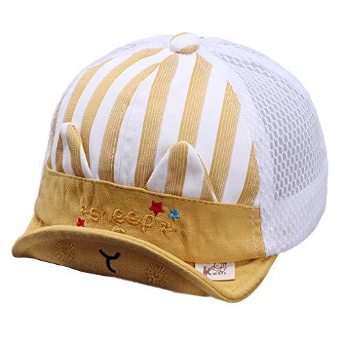 ITODA Sombrero infantil de algodón para bebé, gorro de verano ajustable, para 1 – 2 años de edad, sombrero para niños, niñas, sombrero para el sol, con visera, Rayas amarillas., 42-46