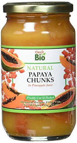 Cecil Bio - Trozos de papaya natural, 350 ml (pack de 6)