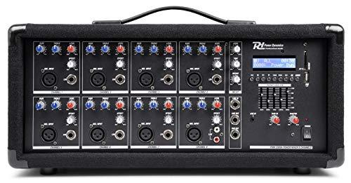 Power Dynamics PDM-C805A Table de Mixage Amplifiée 800 Watts - 8 canaux, Connexion sans Fil Bluetooth, USB/SD, Réglages Graves/aigus par canaux, Idéal pour DJ, Groupe ou Salle de Spectacle