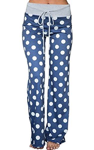 Angashion Damen Weite Bein Lange Hose, Blau Punkte, EU S(34)