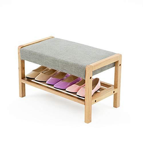 PLL Hocker Massivholz Doppelschicht Schuhregal Schuhablage Hocker Kreative Schuhbank Sofa Hocker Tür Flur Schuhe Bank