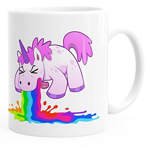 MoonWorks Kaffee-Tasse kotzendens Einhorn Brechend einfarbig weiß Unisize