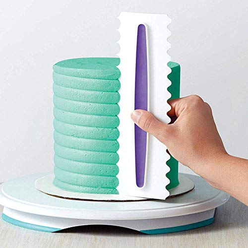 Antallcky Decorating Comb and Icing Smoother Set of 3 Pack Decorating Mousse Butter Cream Cake Edge Tools, Plastic Sawtooth Cake Scraper Polisher 6 Design Textures-White/Purple