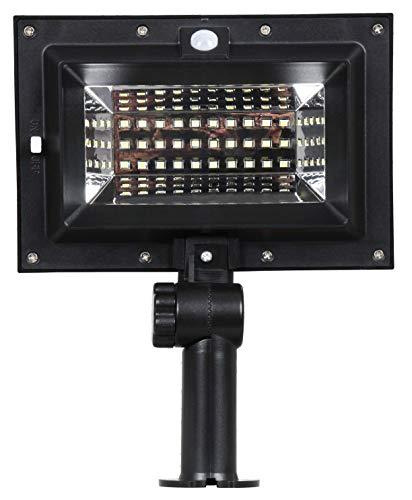 Foco Exterior Solar LED con Detector de Movimiento y Sensor Crepuscular, Modelo Roatán, Potencia 6W, Luz Fría, Ideal para Zonas Comunitarias y Terrazas, Color Negro, Fácil Instalación