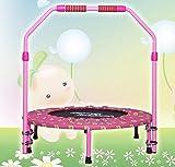 KaiKai 40-Zoll-Folding elastische Bänder Trampolinturnen Trampolineschlag Bett mit verstellbaren Armlehne, Fitnessgeräte (Color : Pink)
