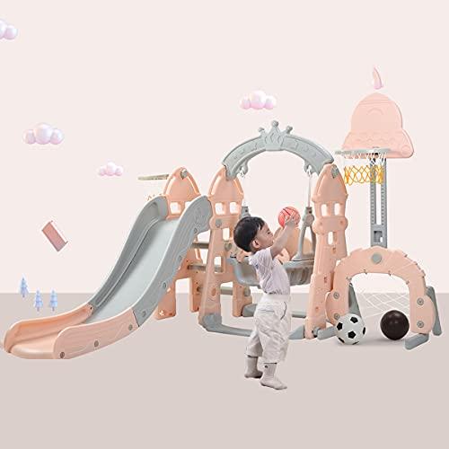 Zona de juegos 5 en 1 para niños, gimnasio con columpio y tobogán, pelota de baloncesto y escalera, tobogán para niños interior y exterior,Pink