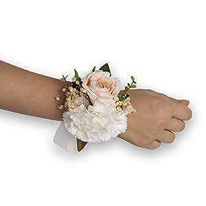 Silk Flower Arrangements Bridals By Ada Erato Wrist Corsage, Handmade Artificial Flowers, Corsage Wristlet, Burgundy Flowers for Rustic Wedding Theme (5PCS/Pack)