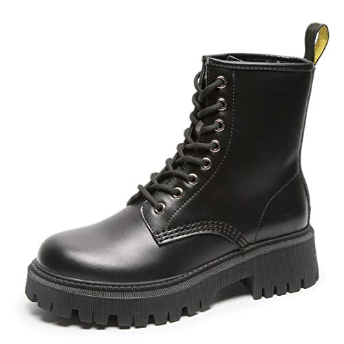 GGBLCS Damen Plateau Stiefeletten Blockabsatz Leder Schnürstiefeletten Punk Wasserdicht Worker Combat Boots,Schwarz,38 EU