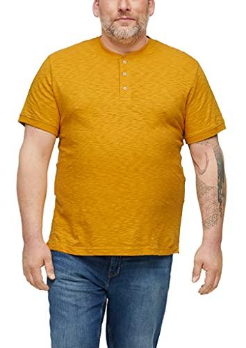 s.Oliver Big Size Herren Flammgarn-Shirt mit Knopfleiste yellow 4XL