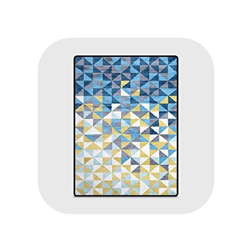 Big Incisors Teppiche Wohnzimmer |Mode Nordic Geometric Teppich Gelb Blau Teppiche Wohnzimmer Schlafzimmer Flur Kinderzimmer Teppich Badezimmer S Customized-1-60CM 90CM