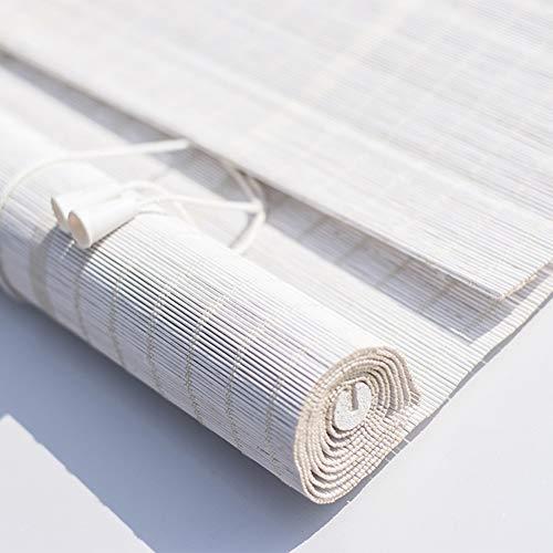 CHAXIA Persiana De Bambú Enrollable Blanco Bambú Fino Cortina Decoración De Fondo Luz Ajustable, Instalación Interior Exterior, Múltiples Tamaños, Personalizable (Color : White, Size : 140x160CM)