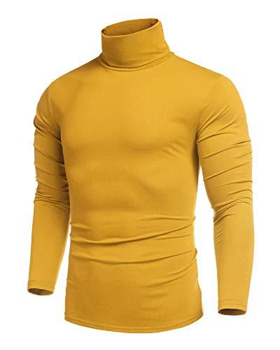 COOFANDY Herren Rollkragen Pullover Langarmshirt Rollkragen Sweatshirt Shirt Freizeit Basic Männer Pullover Gelb L