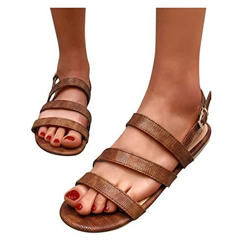 Aniywn Sandals for Women Summer Stylish Women Buckle Strap Open Toe Flat Sandals Slip On Beach Shoes Brown