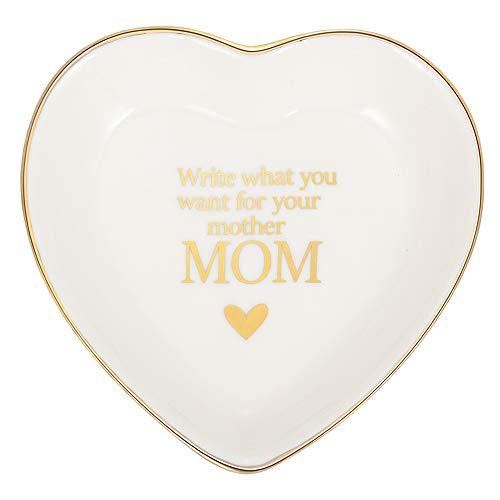 Alskafashion Ring Dish Schmuckhalter Herzform Trinket Tablett Keramikplatte Schmuck Organizer Home Decor Dish für Geburtstag Hochzeit Muttertag Valentinstag (Mom 1)