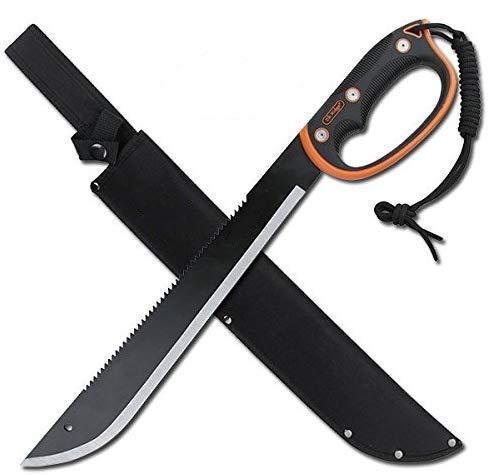 Snake Eye Tactical Full Tang Two Tone Handle Fixed Blade Machete w/ Sheath Outdoors Hunting Camping Fishing (Orange)