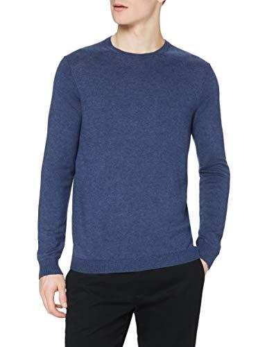 Marca Amazon - find. Jersey de Punto con Cuello Redondo para Hombre, Azul (Denim Blue Marl Denim Blue Marl), M, Label: M