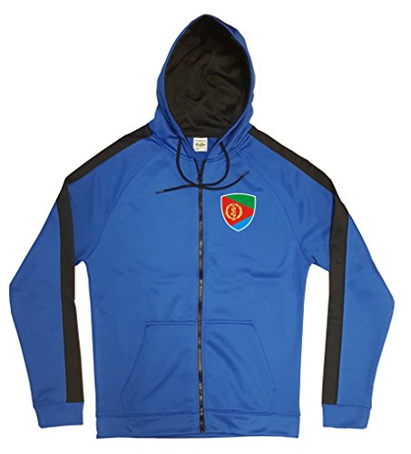 Eritrea Jacke Sweater Royal GO Eritrea Trikot Look Zip Nation Fussball Sport (L)