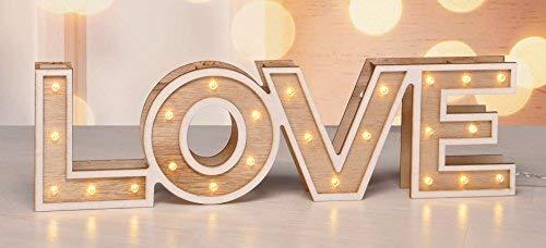 LED Madera Decoración Love–Mesa decorativa con letras Efecto Espejo–Lámpara decorativa blanco 20LED Amor