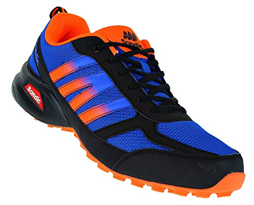 Bootsland Übergröße Luftpolster Turnschuhe Sneaker Laufschuhe 024, Schuhgröße:47, Farbe:Schwarz/Orange/Blau