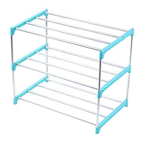 Belleashy Zapatero apilable de 3/4 niveles, organizador de almacenamiento de zapatos para el hogar, sala de estar, balcón (tamaño: como se muestra; color: azul 3 niveles)