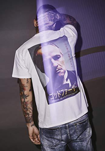 MERCHCODE Herren Godfather Characters Tee - Oberteil mit Gemälde des Paten und japanischen Schriftzeichen T-shirt, White, L
